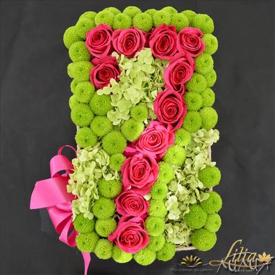 Jubilee arrangement with roses and chrysanthemums